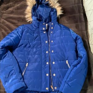 Thread and Supply blue puffer coat with ho…